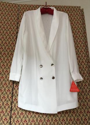 Жакет пиджак оверсайз длинный двубортный нарядный блейзер