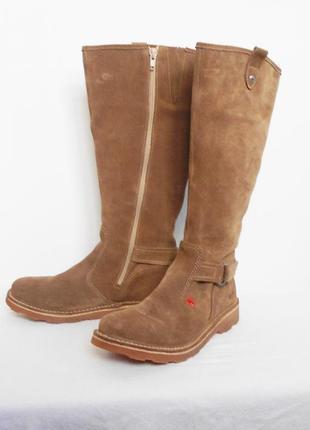 Высокие весенние демисезонние замшевые кожаные сапоги kickers