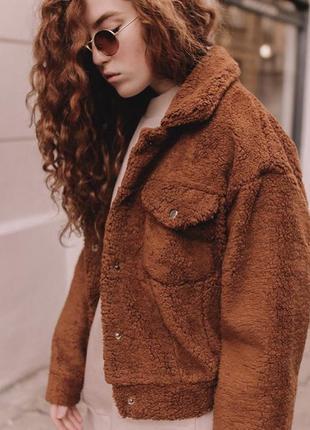 Очень стильная куртка тедди бомбер шуба демисезон пальто