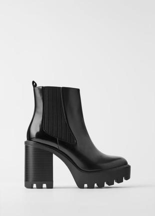 Ботинки на тракторное подошве на каблуке платформе zara оригинал