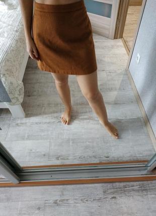 Новая теплая юбка трапеция актуального коричневого песочного цвета
