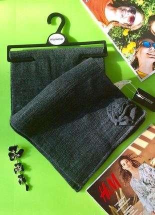 Классический серый шарф с декором, длина 147, финляндия