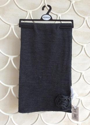 Шарф классический серый с декором, длина 147, финляндия