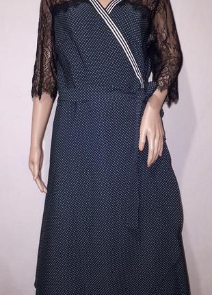 Шикарное платье нарядное на запах в горошек, платье с круживом, халат