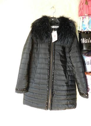 ✅ пальто куртка с камнями и натуральным мехом енот рр 46-48 евро зима холодная осень