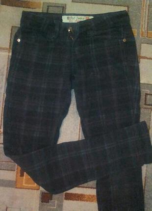 Теплые штаны в клеточку
