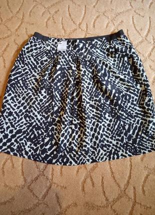 Цветная юбка на резинке с карманами