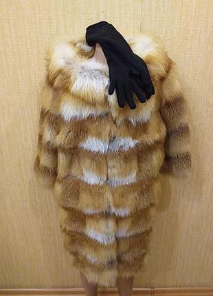 Шуба из лисы с длинными перчатками срочно