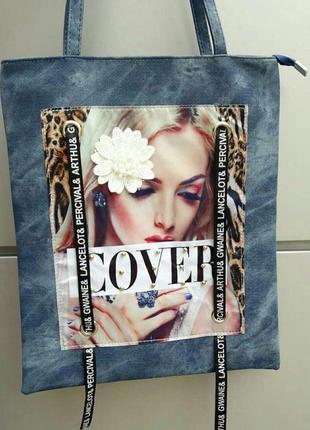 Сумка жен. текстиль джинс, принт девушка с цветком