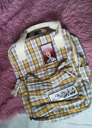 Портфель рюкзак в клеточку в клетку жёлтого цвета