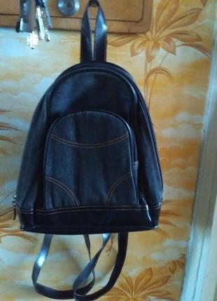 Рюкзак джинсовый темно серый с карманами маленький но вместительный