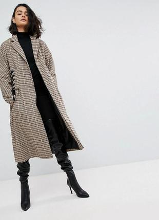 Пальто в клетку asos
