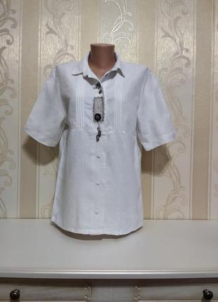 Льняная блуза рубашка, бохо, 100% лён.
