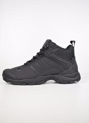 Шикарные мужские кроссовки ботинки adidas climaproof высокие чёрные😃(зима)