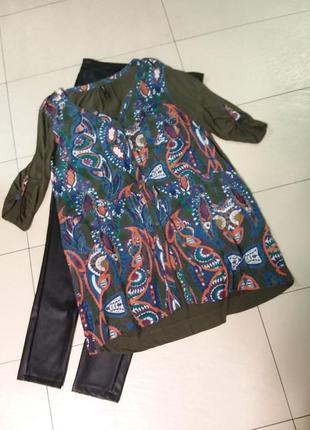 Трикотажная туника/рубашка с шелковым передом , большого 20 размера