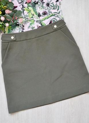 Короткая юбка хаки милитари с карманами h&m