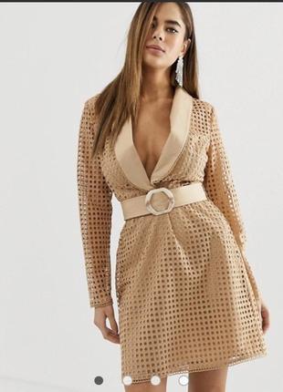 Мини-платье tux в стиле пиджака с поясом asos design