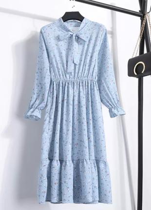 Распродажа! голубое осеннее платье миди в цветы голуба сукня голубе осіннє плаття міді