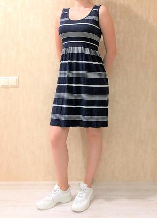 Платье темно-синее полосатое летнее мини ocean club, р. м-l