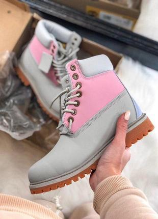 Шикарные женские ботинки timberland gray/ pink розового цвета 😍 (термо/ осень/ еврозима)