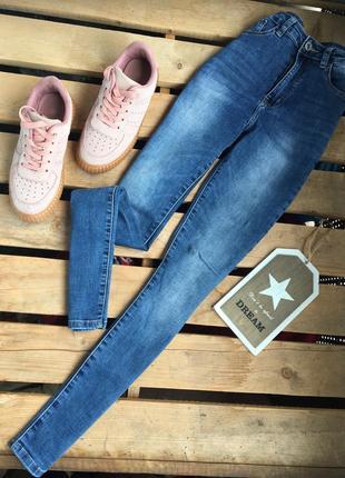 Скини на высокой посадке,синие джинсы на высокой посадке ,базовые