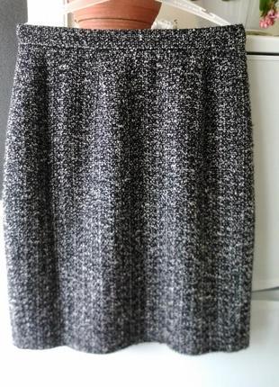 Меланжева чорно- белая юбка