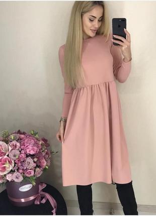 Платье женское персикового цвета креп-дайвинг