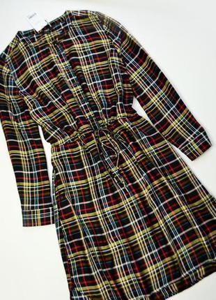 Стильное в клетку платье рубашка с длинным рукавом next вискоза