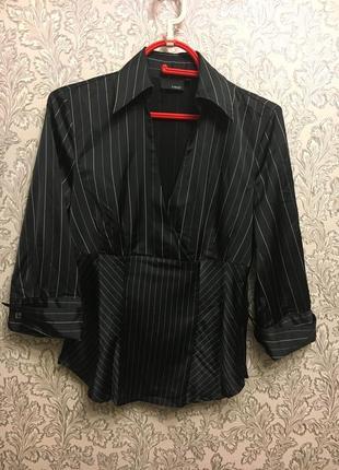 Блуза, полосатая офисная рубашка. 10р.