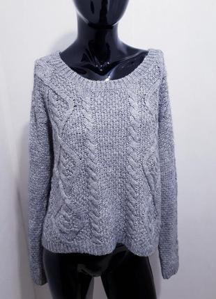 Теплый  укороченный свитер пуловер крупной вязки