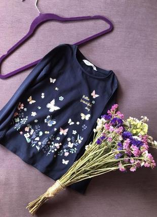 Милая кофта , реглан h&m с бабочками и цветочками 4/6 годика