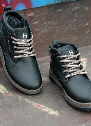 Подростковые кожаные ботинки молния мех черные водонепроницаемы теплые