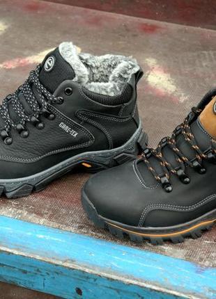 Подростковые кожаные зимние ботинки прошиты на меху крепкие и ноские