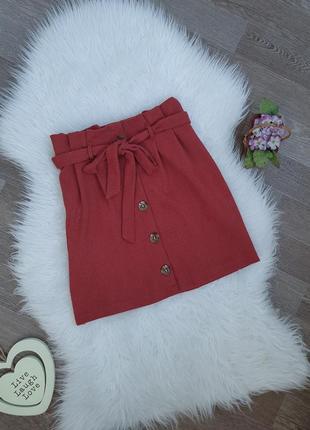 Трендовая мини юбка на пуговицах с высокой талией с бантом primark