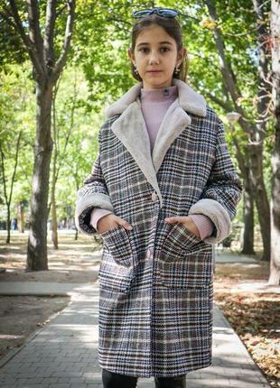Пальто утепленное тренд клетка