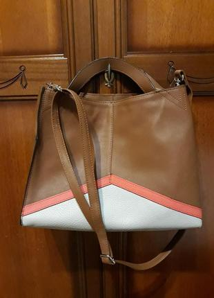 Фирменная оригинальная кожаная#шкіряна сумка#кроссбоди,100% натуральная кожа, франция.