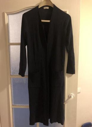 Длинный черничный длинный кардиган платье на пуговицах меринос