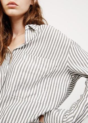 Асимметричная рубашка оверсайз в полоску из вискозы