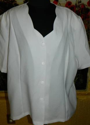 Блуза женская белая на пуговицах размер 56-58 agibel.