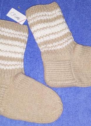 Теплые вязанные носочки на мальчика 19см.