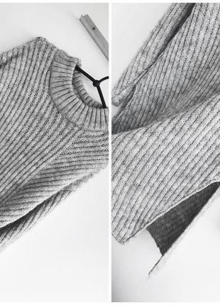 Стильный вязаный серый свитер с разрезами, в составе шерсть, atmosphere