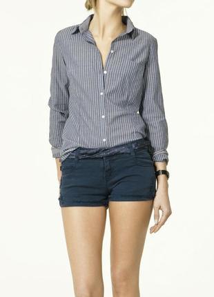 Хлопковая рубашка полосатая блуза в полоску с нашивками на локтях и карманом