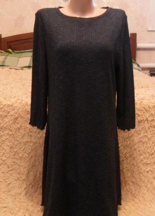 Черное, трикотажное платье трапеция бренда new look, средней длины