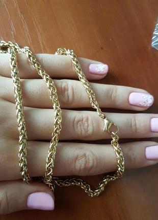 Цепочка плетеная под золото
