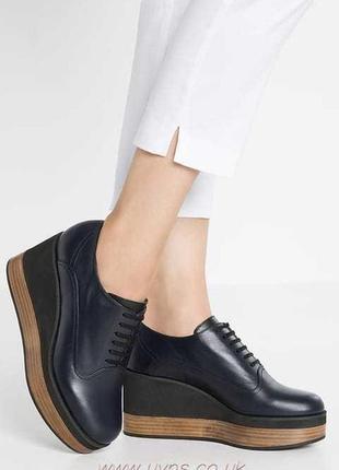 Высокие кожаные туфли на платформе 40р  jil sander