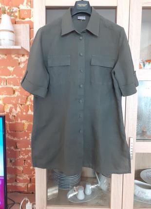 Суперовая котоно-льняная рубашка biaggini большого размера