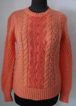Джемпер женский вязаный, украшен гипюром, теплый из мягкой пряжи, 2429м