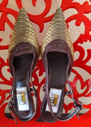Кожанные очтроносые туфли