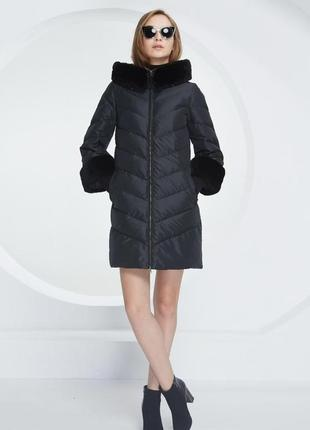 Зимнее женское пальто пуховик фасон колокол трапеция натуральный мех