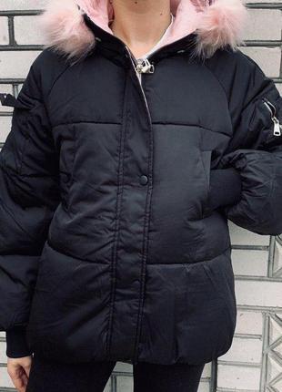 Куртка - женская portland academy (чёрная с розовым)